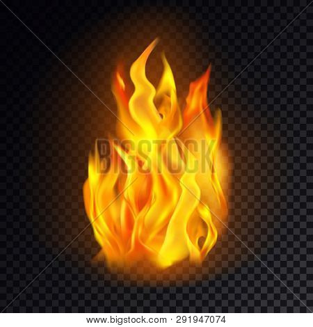 Realistic Fire Isolated On Transparent Background. Flame Icon Or Burn Emoji, Heat Or Hot Emoticon, B