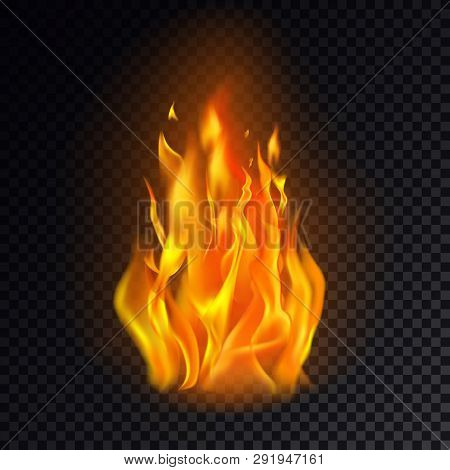Realistic Fire Or 3d Flame, Hot Burn On Transparent Background. Flame Emoji Or Orange Heat Icon, Cam