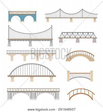 Set Of Different Bridges. Isolated On White Background. Flat Style, Vector Illustration.