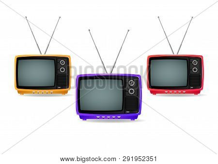 Different Color, Old, Vintage, Retro, Small, Portable Plastic Televisions Isolated On White Backgrou