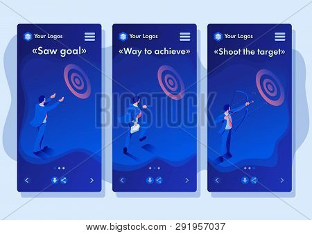 Isometric Template App Businessman Aiming At The Target, Business Concept, Smartphone Apps.