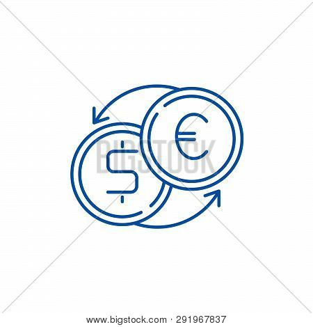 Fast Currency Exchange Line Icon Concept. Fast Currency Exchange Flat  Vector Symbol, Sign, Outline