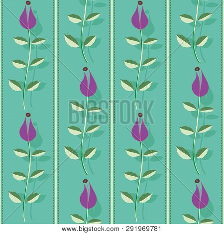 Purple Flowers With Leaves, Stitch Stripes And Shadow Texture. Vertical Seamless Vector Pattern On T