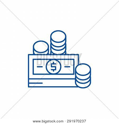 Financial Contributions Line Icon Concept. Financial Contributions Flat  Vector Symbol, Sign, Outlin