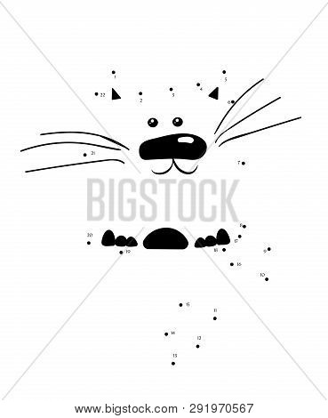 Draw A Cat Connect The Dots. Cartoon Kitten Character For Educational Game For Children. Vector Illu