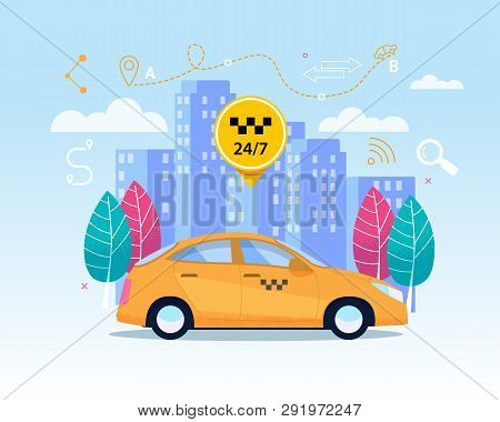 Yellow City Cab Transfer Service. Flat Banner With Business Cab On Cityscape. Yellow Car Cab Transpo