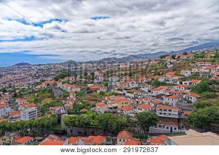 Beautiful Panoramic View At Residential District On Madeira Island, Portugal