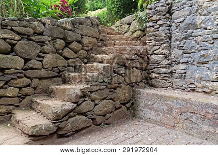 Old Stone Staircase In A Park Near To The Church Of Our Lady Of Monte In Nossa Senhora Do Monte, Mad