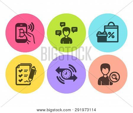 Bitcoin Pay, Timer And Survey Checklist Icons Simple Set. Shopping, Conversation Messages And Search