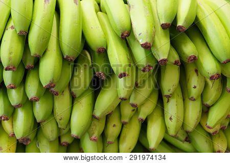 Full Frame Shot Of Ripe, Green Yellow Bananas. Portuguese Island Of Madeira