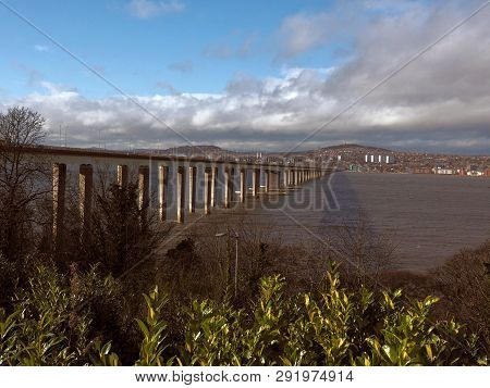River, Bridge And City.  Dundee, Scotland - February 20, 2019 A Modern, Road Bridge Over The Tay Riv