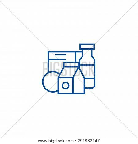 Grocery Products, Milk, Cereals Line Icon Concept. Grocery Products, Milk, Cereals Flat  Vector Symb