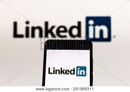 March 27, 2019, Brazil. Linkedin Logo On Mobile Device. Linkedin Is A Social Networking Site. It Is