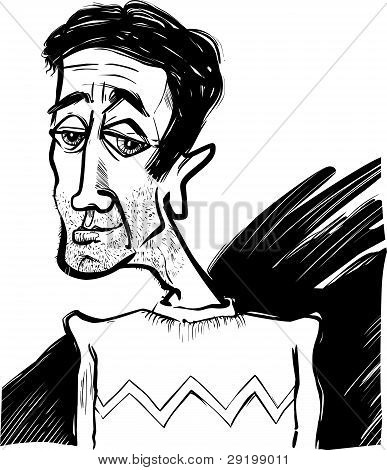 Caricature Of A Young Man