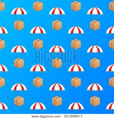 Web Banner For Delivery Services And E-commerce. Packages Are Flying On Parachutes. Vector Stock Ill