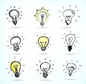 Set of Hand-drawn light bulbs, symbol of ideas poster