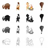 Isolated object of evolution  and prehistory logo. Set of evolution  and development  vector icon for stock. poster