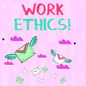 Writing note showing Work Ethics. Business photo showcasing principle that hard work intrinsically virtuous worthy reward Colorful Airmail Letter Envelopes and Two of Them with Wings. poster