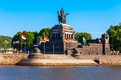 Memorial of German Unity at Deutsches Eck in Koblenz. Koblenz is a city on the Rhine, joined by the Moselle river. poster