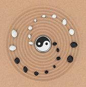 Ying Yang Sign with White and Black Stones over Zen Meditation Sand Garden extreme closeup. 3d Rendering poster