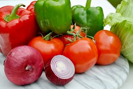 Fresh Ingredients - Peppers, Onions, Lettuce & Tomatoes