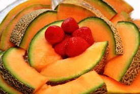 Fresh Summer Cantaloupe With Strawberries For Breakfast