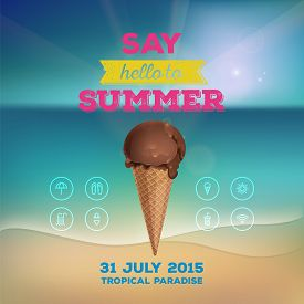 Summer Poster, Flyer, Invitation To Rest. Chocolate Ice Cream In Waffle Cup On Background Of The Sea