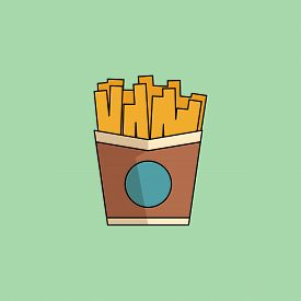 Cute Cartoon Icon French Fries.potato In Paper Bucket. Office Snack, Business Lunch Takeaway. Vector