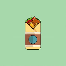 Cute Cartoon Chicken Roll With Salad, Tomatoes, Cutlet, Cheese, Ham. Minimalist Line Style, Modern C
