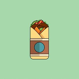 Cute Cartoon Beef Roll With Salad, Tomatoes, Cutlet, Cheese, Ham.minimalist Line Style, Modern Color