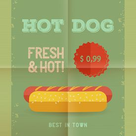 Hot Dog Menu Price. The Best Hot Dogs In Town. Vintage Poster Design. Retro Flyer Template, Folded P