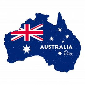 Happy Australia Day -  26 January. Poster With Australia Map. Grunge Rubber Stamp On Isolated Backgr