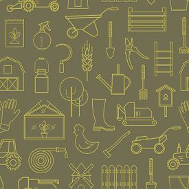 Line Seamless Pattern Icon Farmer, Gardening Tools On Olive Background. 30 High Quality Simple Linie