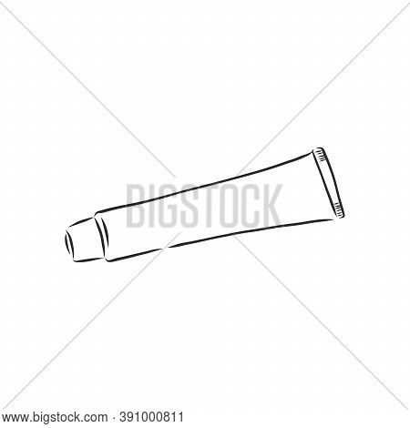 Toothpaste Tube Hand Drawn Outline Doodle Icon. Hygiene, Daily Dental Care, Tooth Cosmetics Medical