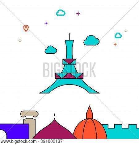 Eiffel Tower, Paris Filled Line Vector Icon, Simple Illustration, World Landmarks Related Bottom Bor