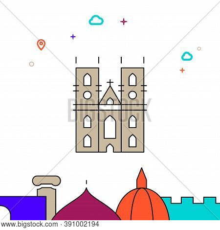 Westminster Abbey, London Filled Line Vector Icon, Simple Illustration, World Landmarks Related Bott
