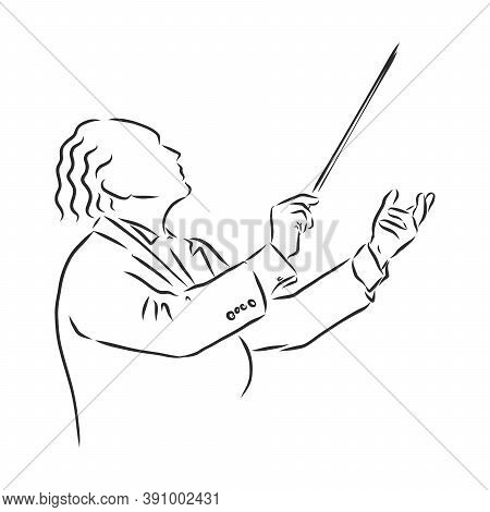 Orchestral Conductor Engraving Vector Illustration. Scratch Board Style Imitation. Black And White H