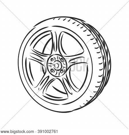 Car Wheel Wire Model Eps10 Vector, Car Wheel, Vector Sketch Illustration