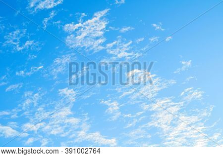 Blue sky background. Vast sky landscape scene, blue sky view. Blue sky landscape, vast sky background, sky scene with dramatic sky clouds.