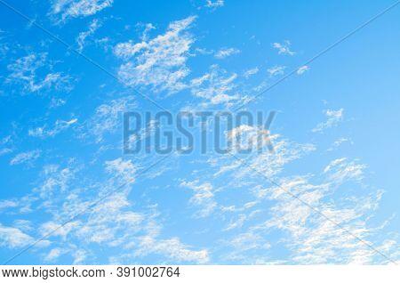 Blue sky background. Vast sky landscape scene, blue sky view. Blue sky landscape, vast sky background, sky scene with dramatic sky clouds.