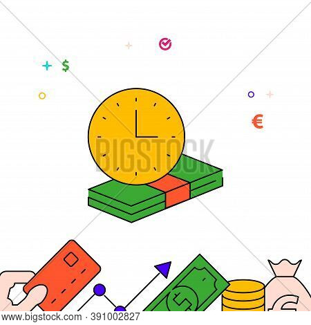 Term Deposit Filled Line Vector Icon, Simple Illustration, Finance And Money Related Bottom Border.