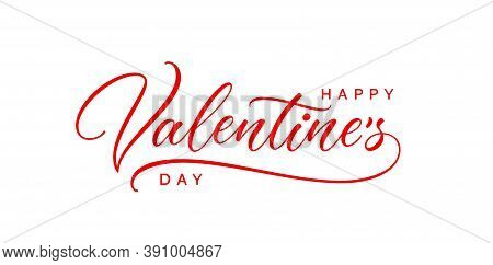 Happy Valentine's Day Text. Romantic Hand Lettering For Use In Postcard, Invitation, Card, Banner Te