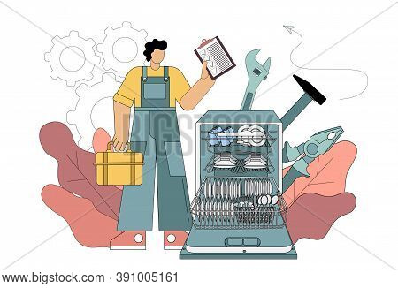 Repairman And Dishwasher Concept. Repairman Concept. Worker In The Form Of Repairing Household Appli