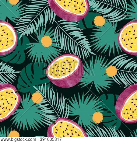 Tropical Seamless Vector Pattern With Passion Fruit And Jungle Leaves. Summer Background.