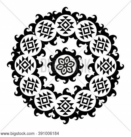 American Symbol Indigenous Ethnic Flower Signs Texture.
