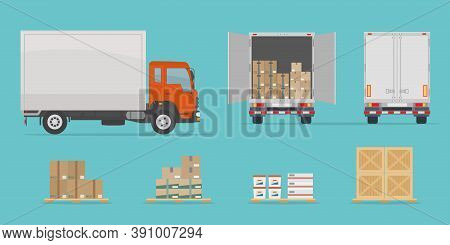 Delivery Truck Side And Back View, And Different Boxes. Isolated On Blue Background. Warehouse Equip