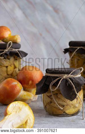 Conserved Mushrooms (amanita Caesarea). Homemade Mushrooms Conservation