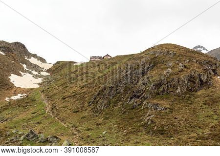 Mountain Alps Panorama And Alpine Hut Taschachhaus In Tyrol Alps, Austria