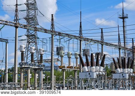 Outdoor Power Plant, Close-up. Electrical Substation With Power Transformers And Measuring Elements,