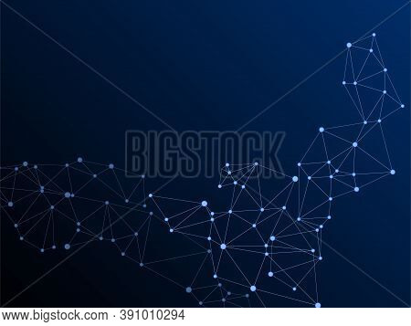 Geometric Plexus Structure Cybernetic Concept. Network Nodes Plexus Dark Blue Background. Net Grid O